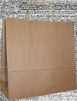 torba papierowa z uchwytem skręcanym 32x16x38 beż prążek