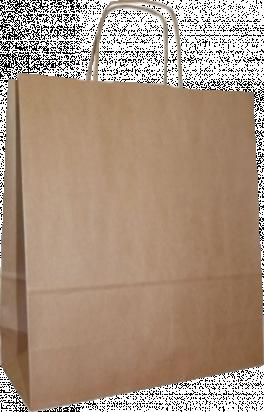 torba papierowa z uchwytem skręcanym 34x20x36 beż prążek