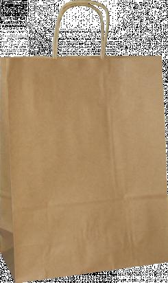 torba papierowa z uchwytem skręcanym 31x12x41 beż prążek