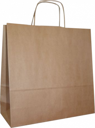 torba papierowa z uchwytem skręcanym 40x14x40 beż prążek
