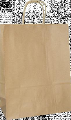 torba papierowa z uchwytem skręcanym 31x12x41 beż gładka
