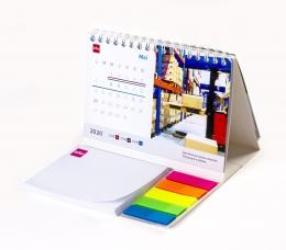 Kalendarz  na spirali z notesem samoprzylepnym i znacznikami