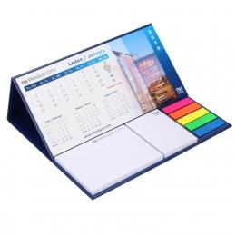 Kalendarz biurkowy z notesami samoprzylepnymi i znacznikami