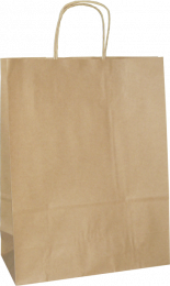 torba papierowa z uchwytem skręcanym 18x8x22,5 beż gładka