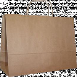 torba papierowa z uchwytem skręcanym 18x8x22,5 beż prążek