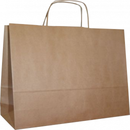 torba papierowa z uchwytem skręcanym 13x7x35 beż prążek